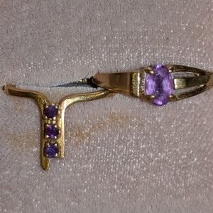 Jewelry - 2 Yellow Gold Rings with Amethyst Stones